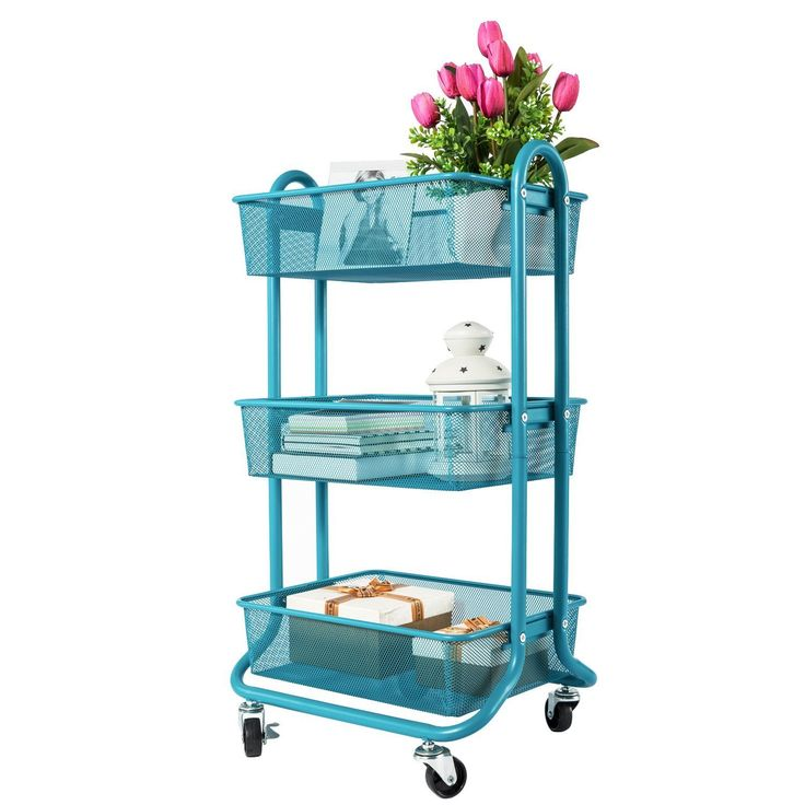 DESIGNA 3-Tier Metal Mesh Rolling Storage Cart with Utility Handle, Ideal for Bedroom Kitchen Bathroom Garage Office Arts and Crafts or Nursery, Turquoise
