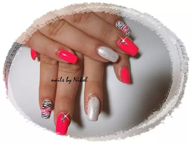 Zebra nails and pink