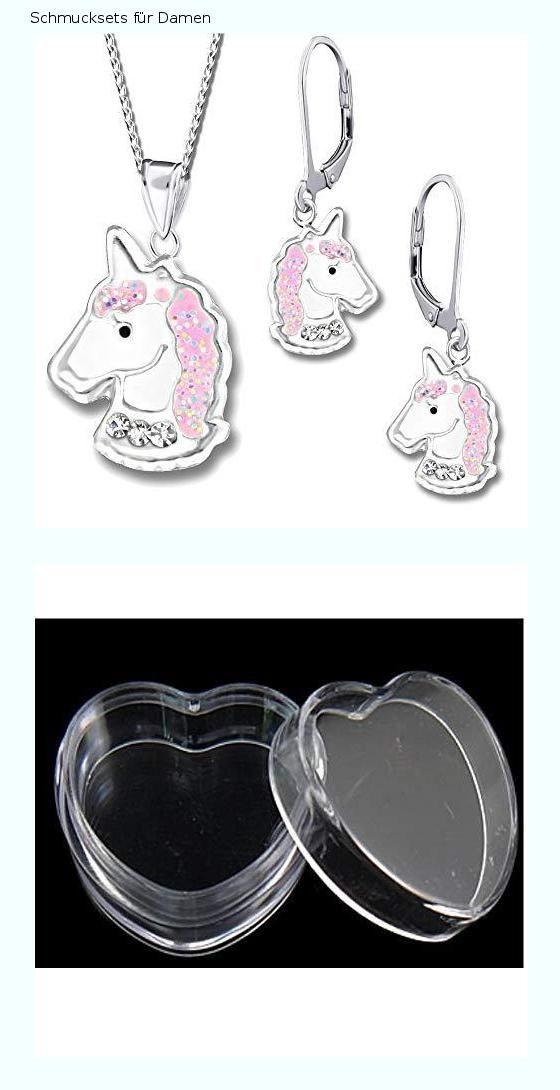 dc0ddd7431 Schmuckset Einhorn Pferde Brisur Creolen Ohrringe Ohrhänger Anhänger  Halskette Kette Kinder Mädchen Damen