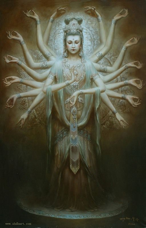 Kuan Yin, Amazing Oriental Oil Paintings of Chinese Goddesses and Angels by Zeng Hao