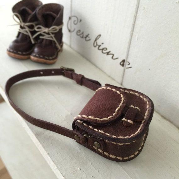 Real Leather:doll/ Shoulder bag/Dark brown color/ by Amabiledoll