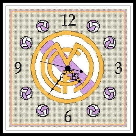 """Gráfico para punto de cruz del Reloj del """"Real Madrid""""."""