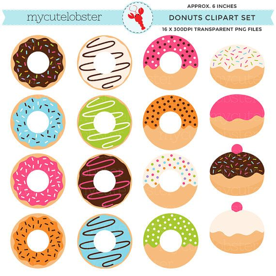 Donuts Clipart Set clip art set of donuts by mycutelobsterdesigns