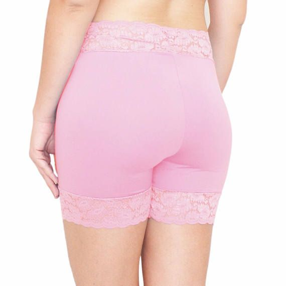 96ccca110d52 Cotton Biker Shorts Pink Lace Shorties Blush Tap Pants Stretch Cotton  Pajamas Pink Plus Size Anti Chafing Shorts Under Skirt Shorties.