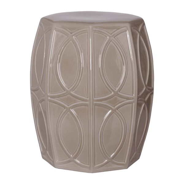 Grey Treillage Garden Stool This beautiful eight-sided garden stool features a high-gloss grey glazed finish on a treillage pattern. Use as a seat, small table, or stand, indoors or outdoors. 15″d x 18H