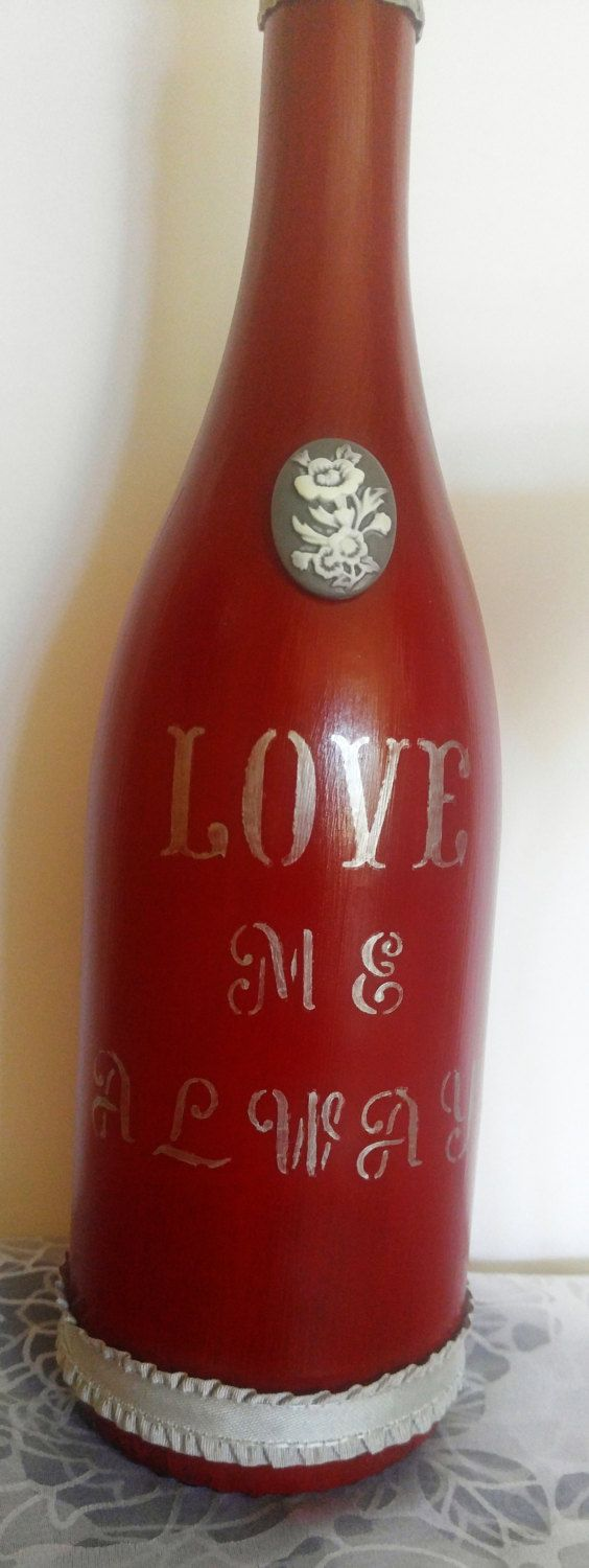Love Me Always, Wine Gift Set, Wine Bottle Decor, Red Wine Bottle, Candle Gift Set, Sangria Candle, Crystal Candle, Crystal Wine Glass by ThisUniqueHome on Etsy