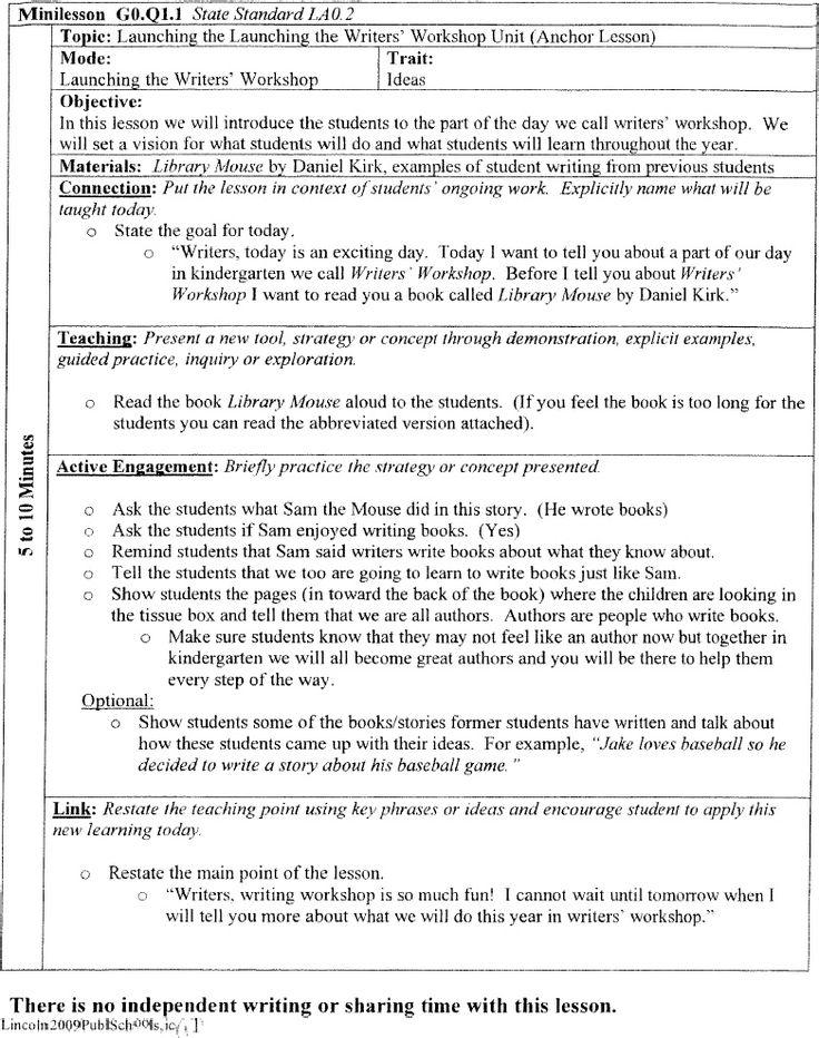 Kindergarten Writers Workshop Lesson Plans | CINEMAS 93