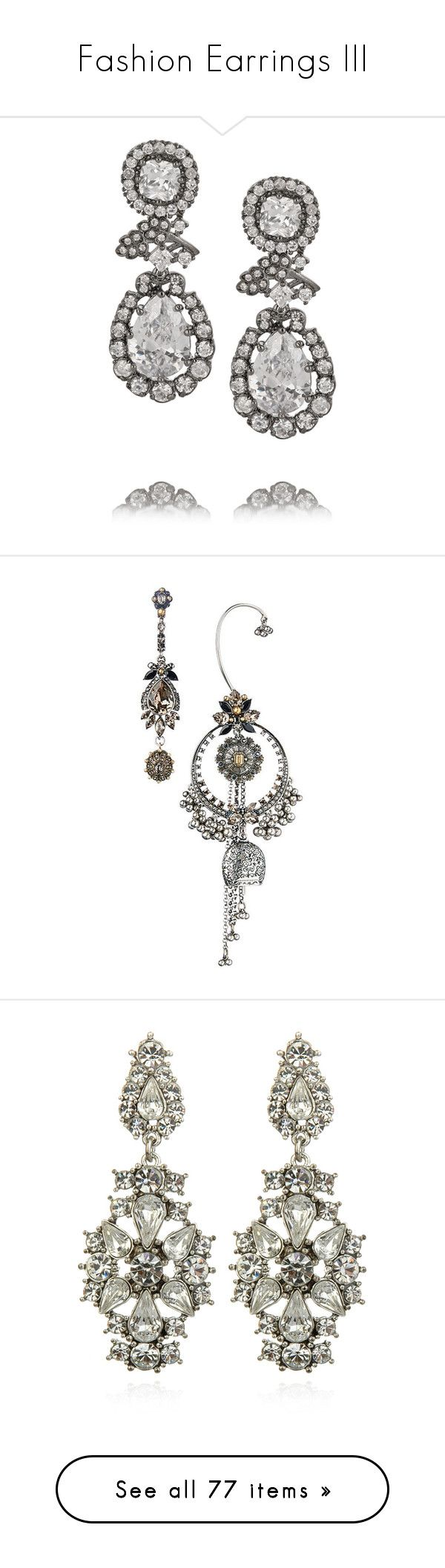 """Fashion Earrings III"" by sakuragirl ❤ liked on Polyvore featuring jewelry, earrings, orecchini, silver, kenneth jay lane jewelry, kenneth jay lane earrings, cz earrings, rhodium plated jewelry, cz jewellery and accessories"