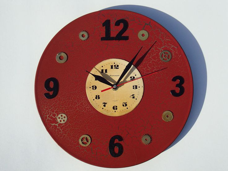 Steampunk wall clock Retro, unique wall clocks, modern wall clocks, vintage wall clock, terracotta wall clock, brown wall clock, unique gift by OlgaArtShop on Etsy