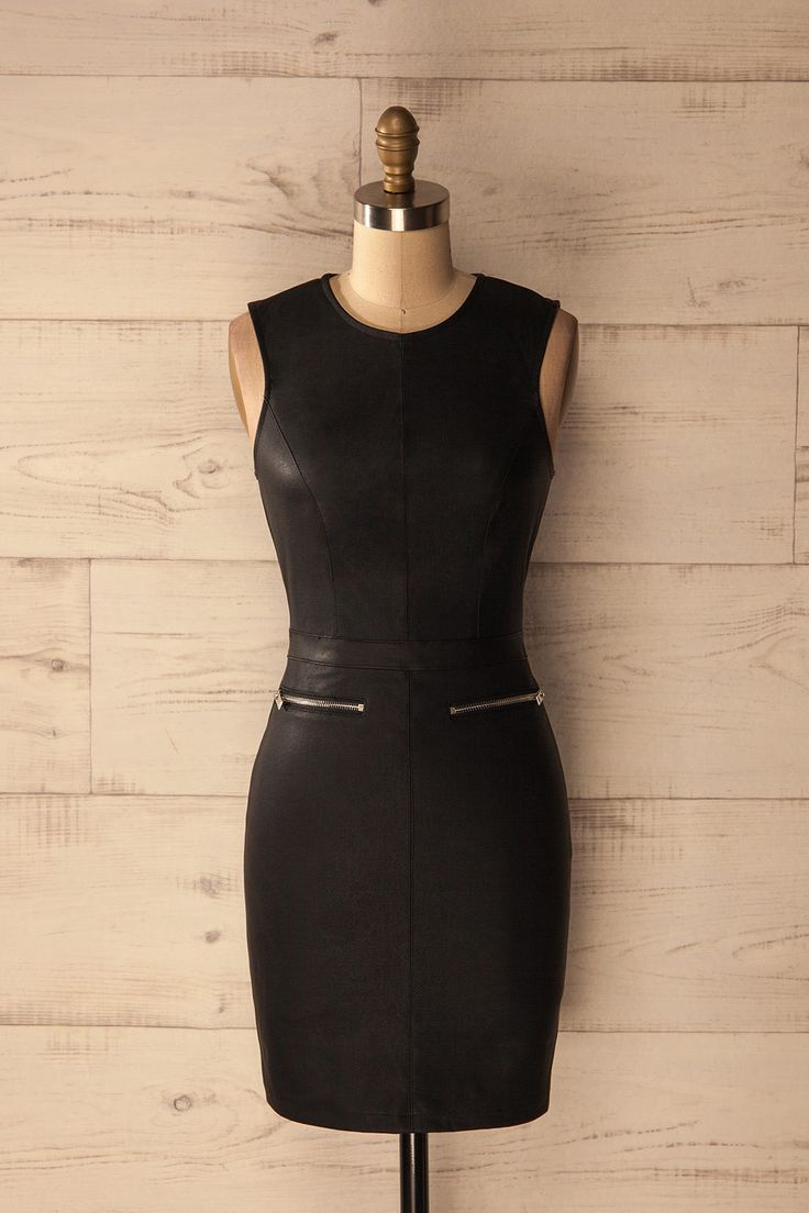 Sorbola - Black faux-leather fitted dress www.1861.ca
