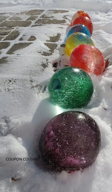 "Freeze water balloons filled with colored water for ""Frozen Globes that look like colored marbles""-Christmas just got more fun!"