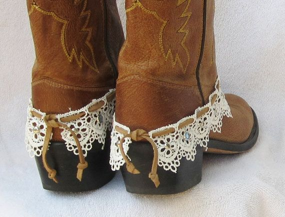 LEATHER AND LACE boot cuff bracelet studs by feathers2gether, $28.00                                                                                                                                                      More