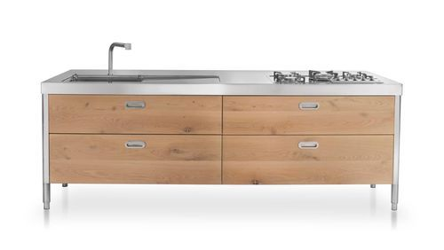 Contemporary kitchen / stainless steel / wood veneer / modular UNITS 250 ALPES-INOX