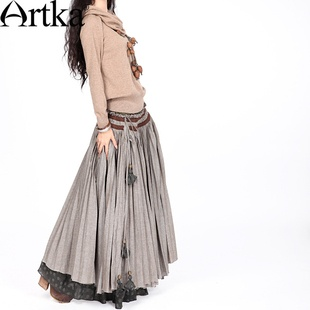 #Swanmarks Artka Desert Series Fold Embroidery Lace Up Cotton Skirt