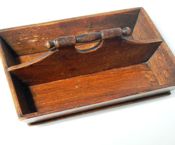 Antique Wood Cutlery or Silverware Divided Tray  by rust2retro, $50.00