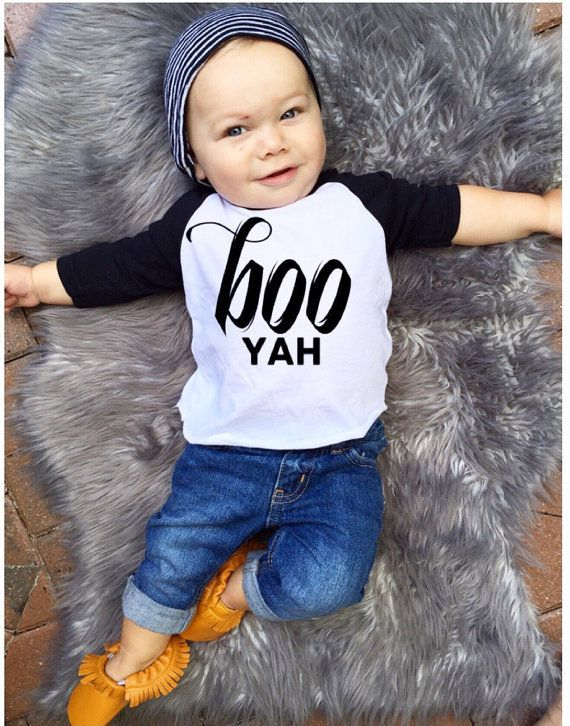 Perfect for fall and Halloween this three quarter raglan is unique and trendy! Explore our funny sayings graphic designed t-shirts for boys up to 6 years old at http://www.citizenbeachapparel.com/product/boo-yah-kids-raglan/ | Kids Fashion