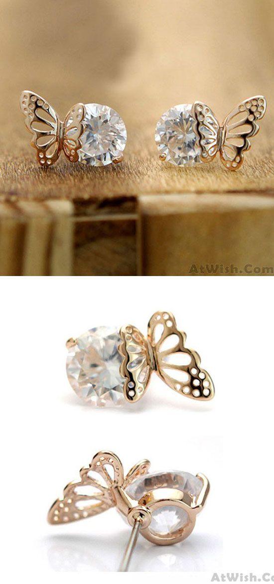 Exquisite Elegant Winky Zircon Hollow Golden Butterfly Earrings is so cute ! #elegant #winky #earring #butterfly #Hollow