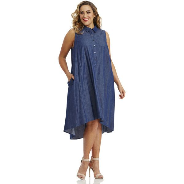 Maggy London London Times Curve Pleated Chambray Shirtdress (€97) ❤ liked on Polyvore featuring plus size women's fashion, plus size clothing, plus size dresses, denim, plus size, women's plus size dresses, plus size sleeveless dresses, chambray dress, collared shirt dress and sleeveless shirt dress