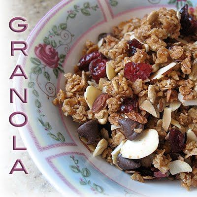 homemade granola with dark chocolate, almonds and dried cranberries.  What a great breakfast with some vanilla yogurt or non-homogenized milk!