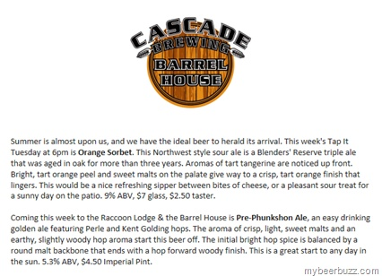 Cascade Orange Sorbet Sour & Pre-Phunkshon Ale | mybeerbuzz ...