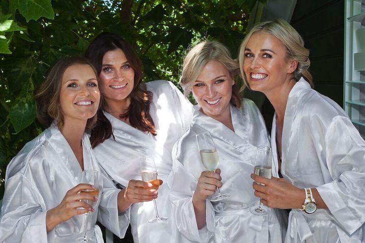 Ladies getting ready + celebrating #bridesmaids #gettingready #satin #robes