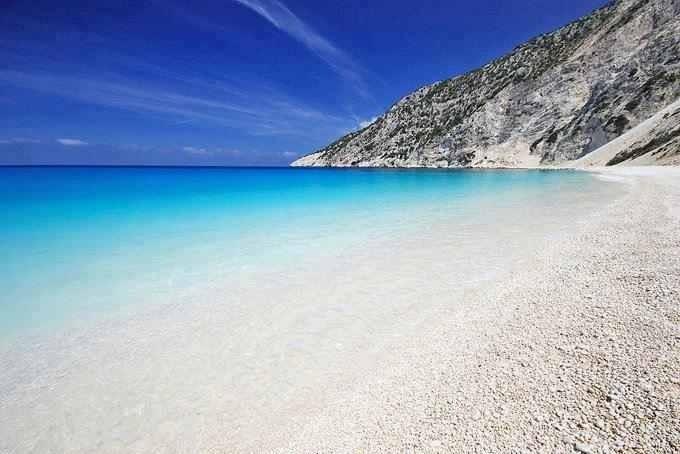 Myrtos in the region of Pylaros, in the northwest Kefalonia Island, in the Ionian Sea of Greece