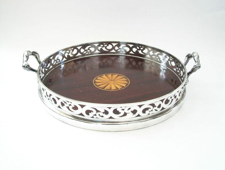 STANDARD SILVER CO. LTD. - Mahogany Tray - Silver Plate Rim - Canada - 20th C. | eBay
