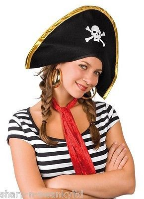 Ladies mens #adult black white pirate #party fancy dress #costume hat accessory, View more on the LINK: http://www.zeppy.io/product/gb/2/141574236760/