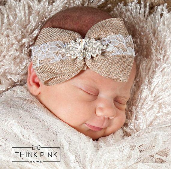 Baby Headband Newborn Headband Burlap headband by ThinkPinkBows