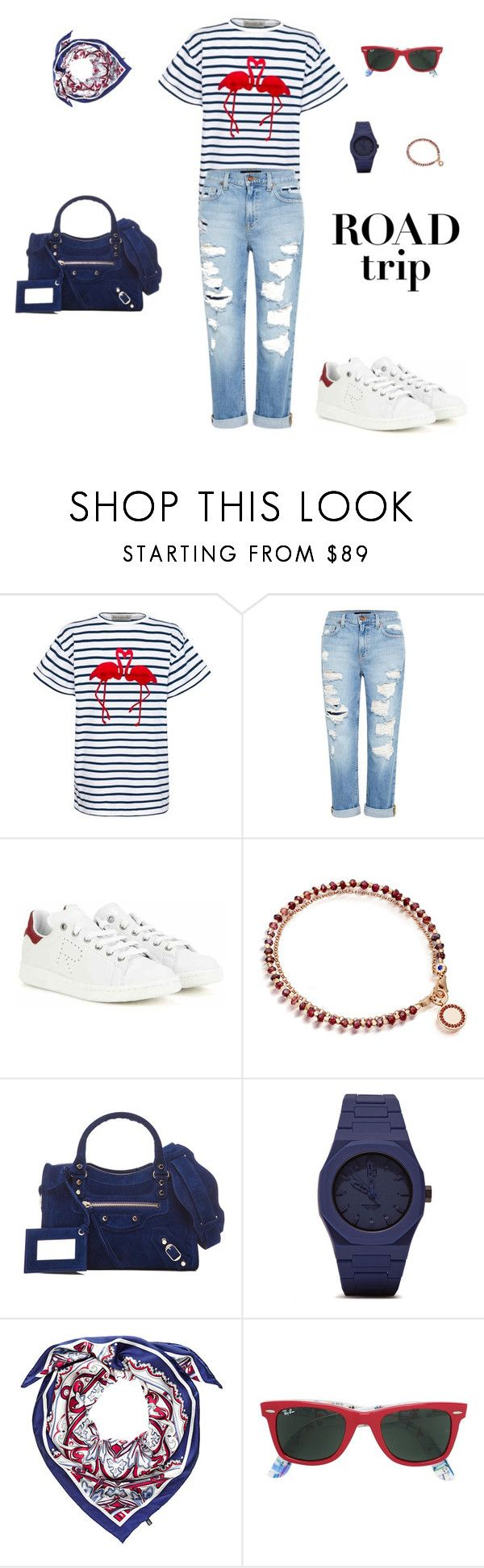 """Road Trippin"" by sebolita ❤ liked on Polyvore featuring Être Cécile, Genetic Denim, adidas, Astley Clarke, Balenciaga, CC, Hahn, Ray-Ban, roadtrip and contestentry"