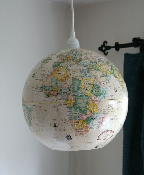 DIY Globe Ceiling Light - Inspiration DIY - submitted by A Red Ember