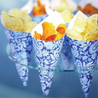 Potato Chips in Blue Paisley Cones - Shimmery surfaces and azure tints create a chic beach celebration - Meal & Drinks