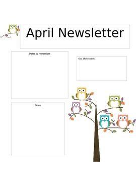 Send home these adorable Owl Newsletters everyday, week, or month! Change it up as much as you need!