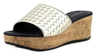 Donald J Pliner Safari 3 Women Open Toe Leather Silver Wedge Sandal.
