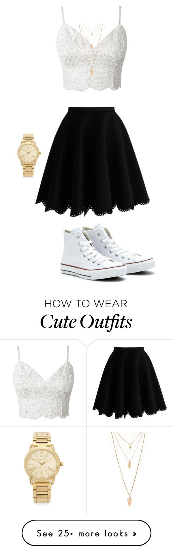 """Cute summer outfit"" by itsnina101 on Polyvore featuring Chicwish, Converse, Michael Kors and Forever 21"