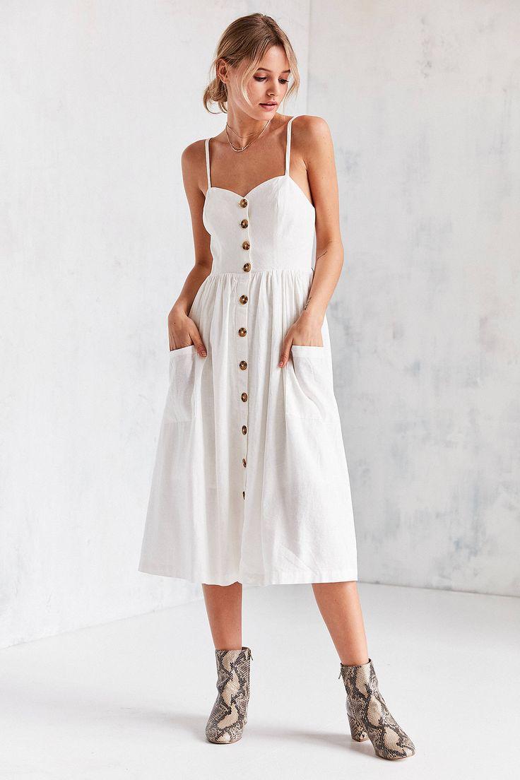 Slide View: 1: Urban Outfitters Emilia Linen Button-Down Midi Dress