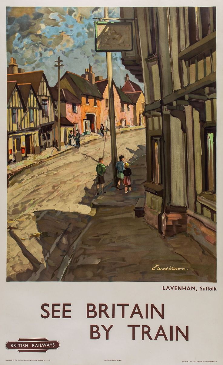 BRITISH TRAIN POSTERS - Lot 193 - WESSON, Edward - SEE BRITAIN BY TRAIN, British Railways, Lavenham lithographic poster in colours, jul16