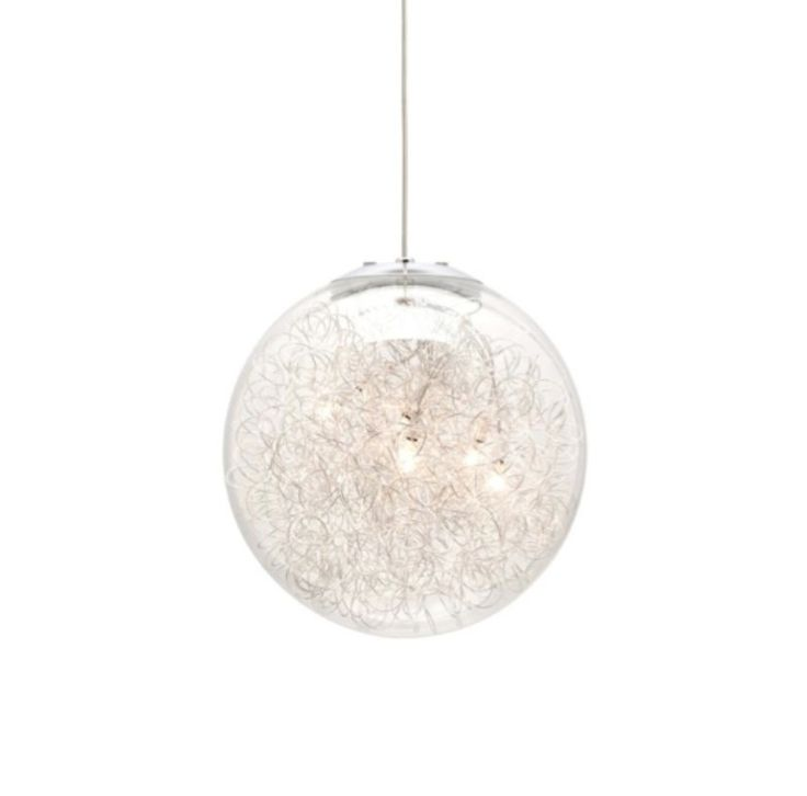 Eternal 5 light halogen pendant with curly aluminium inside clear shade