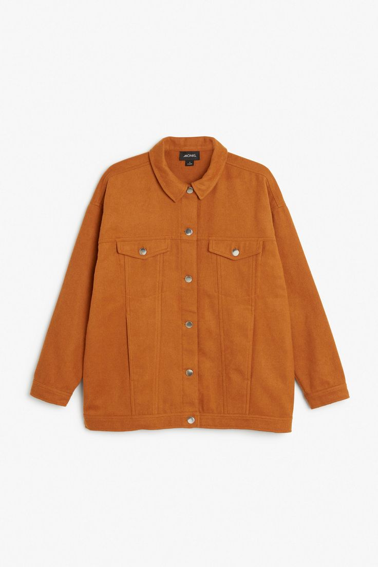 Monki Image 1 of Felt-look jacket  in Orange Yellowish Dark