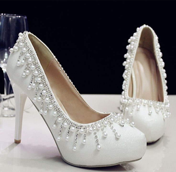 White pearls crystal Wedding shoes Bridal flats low high heels pumps size 5-10 #FlatheelsWedges