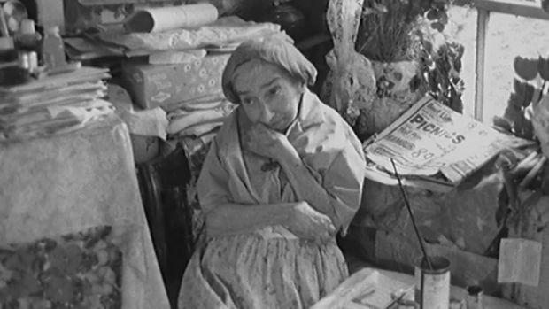 Folk artist Maud Lewis at work in her Nova Scotia home   CBC Arts