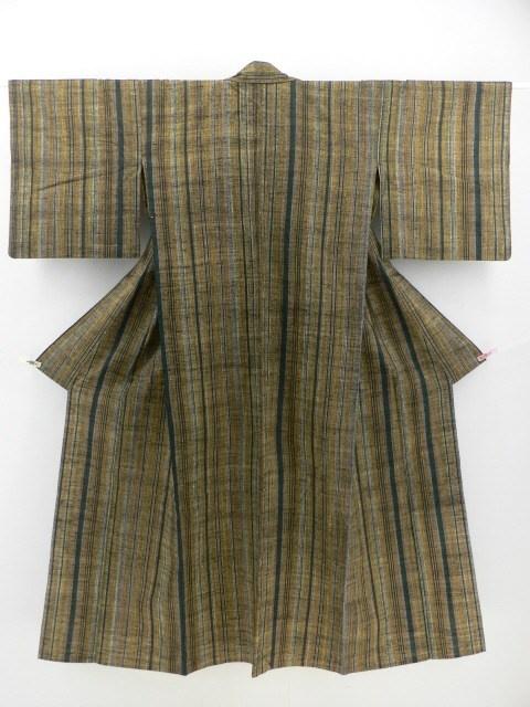 Multiple Mottled Color Hitoe Komon / 杢調渋い多色の縞柄 紬単衣小紋  【リサイクル着物・アンティーク着物・帯の専門店 あい山本屋】#Kimono #Japan