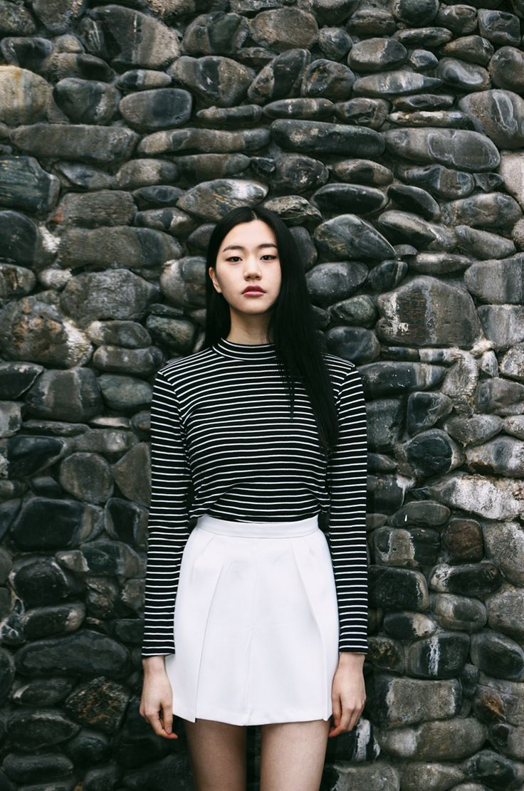 Striped top and white skirt - classic black & white