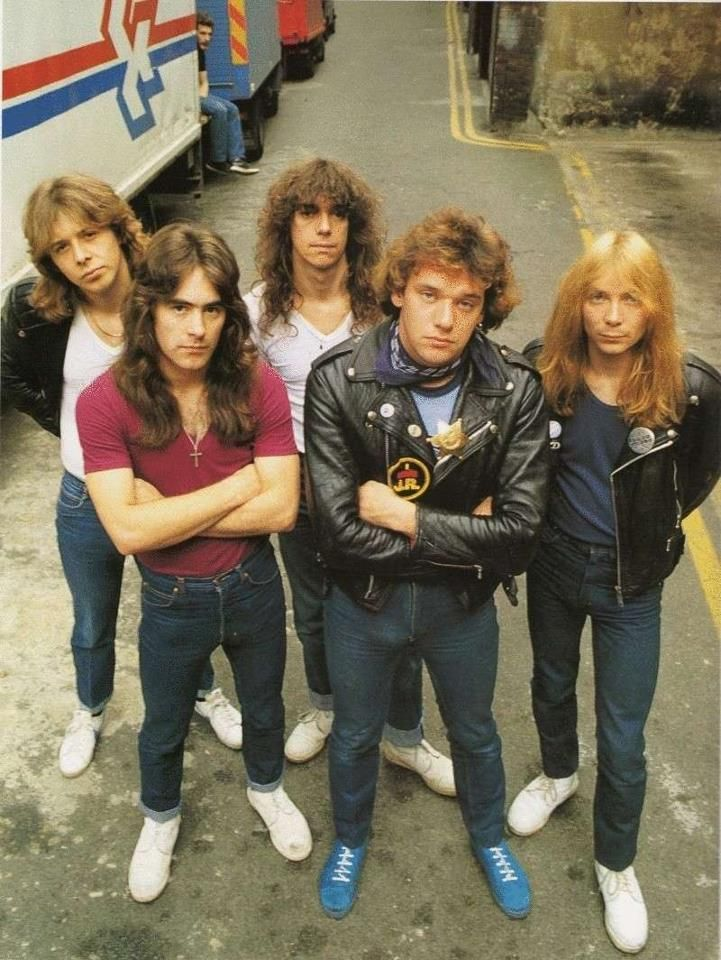Iron Maiden - 1981 - Left to right: Clive Burr (drummer), Steve Harris (bass), Dennis Stratton (guitarist), Paul Di'Anno (singer), and Dave Murray (guitarist)