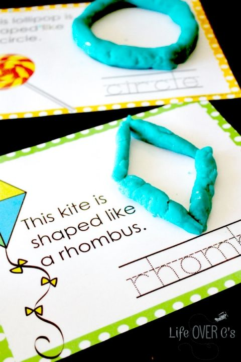 Free printable play dough shape mats for 2D shapes. Great for fine-motor skills and handwriting practice.