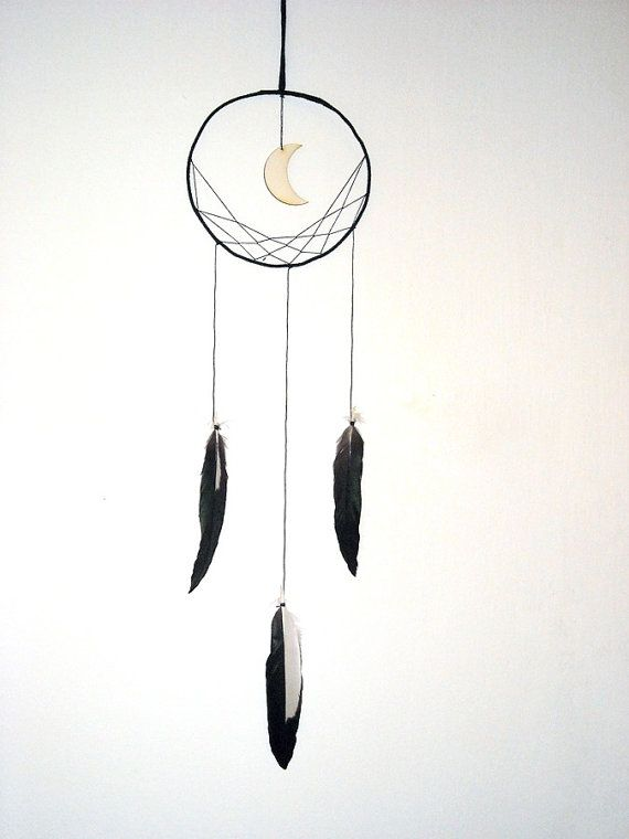 RESERVED Minimalist dreamcatcher  black wall hanging by wincsike, $38.00