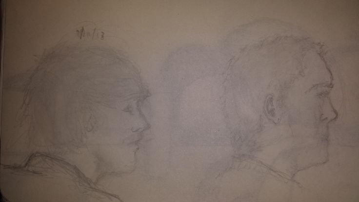 Couple of quick sketched from a field trip mini bus (pencil)