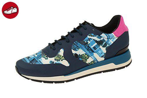 Geox Damenschuhe - sportliche Schnürhalbschuhe SHAHIRA - CAMOTARTAN Designed by YOUNG BAE SEOK D64N1B 000L1 C4002 Blau, EU 41 - Geox schuhe (*Partner-Link)