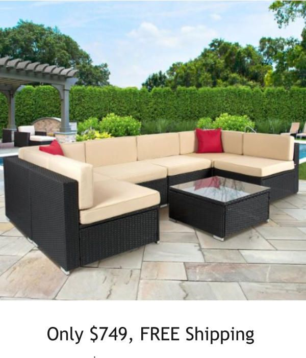 Order Best Choice Products Furniture Sectional PE Wicker Rattan Sofa Set  Deck Couch Brown U2013 Patio Furniture Sets For Sale