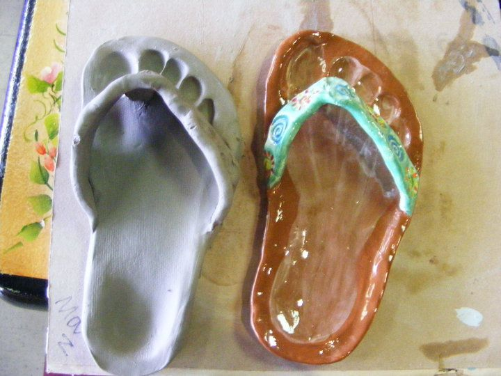 Clay flipflop with footprint. Cool.......hmm maybe include a story on where they can travel with something they are learning in their core classes?